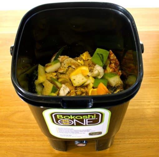 Waste inside bucket
