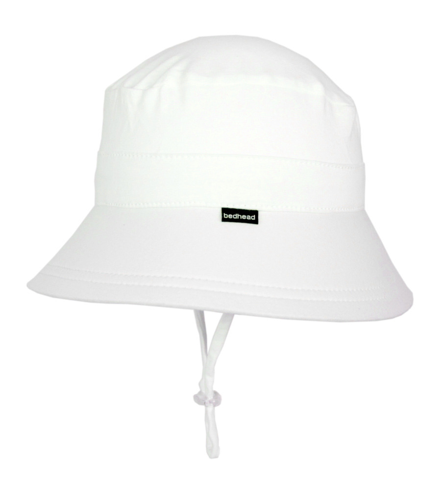 75c8ce596a0 Bedhead Baby Bucket Hat with Strap - White - Aussie Kidlets