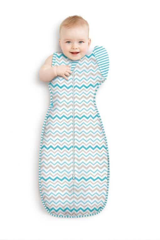 Love to Swaddle Up 50/50 Aqua Zig Zag