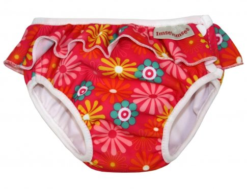 Imse Vimse Swim Nappy - Red Daisy with Frill