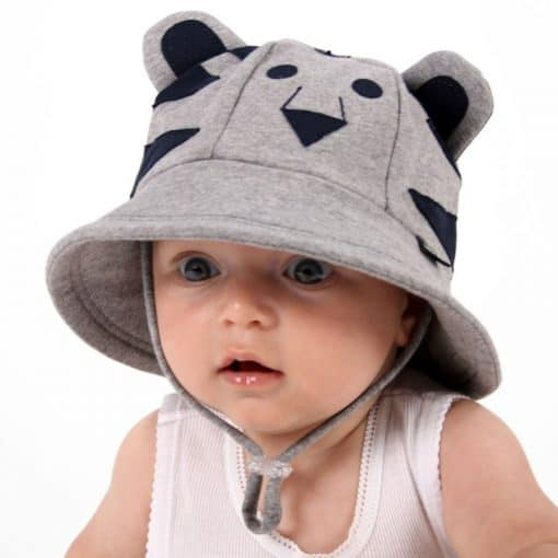 Bedhead Lil' Tiger Baby Bucket Hat with Strap - Grey