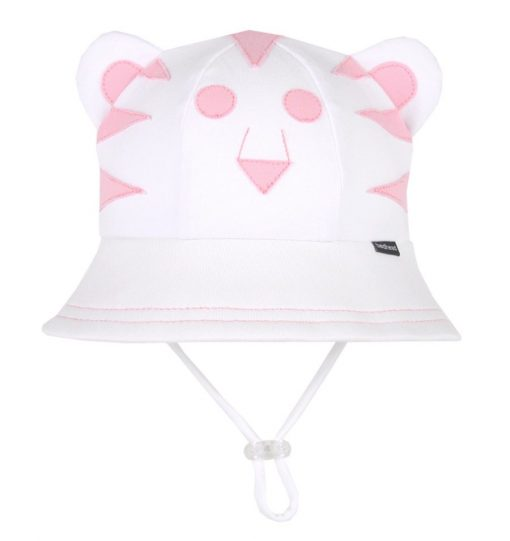 Bedhead Lil' Tiger Baby Bucket Hat with Strap - White