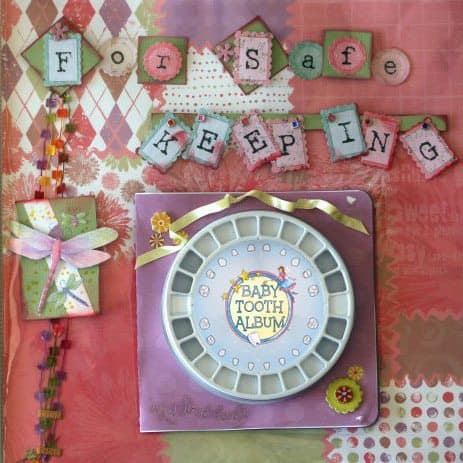 Baby Tooth Organiser - scrapbooking idea